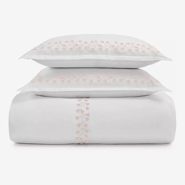 Sky Floral Embroidered Duvet Cover Set, Full/Queen