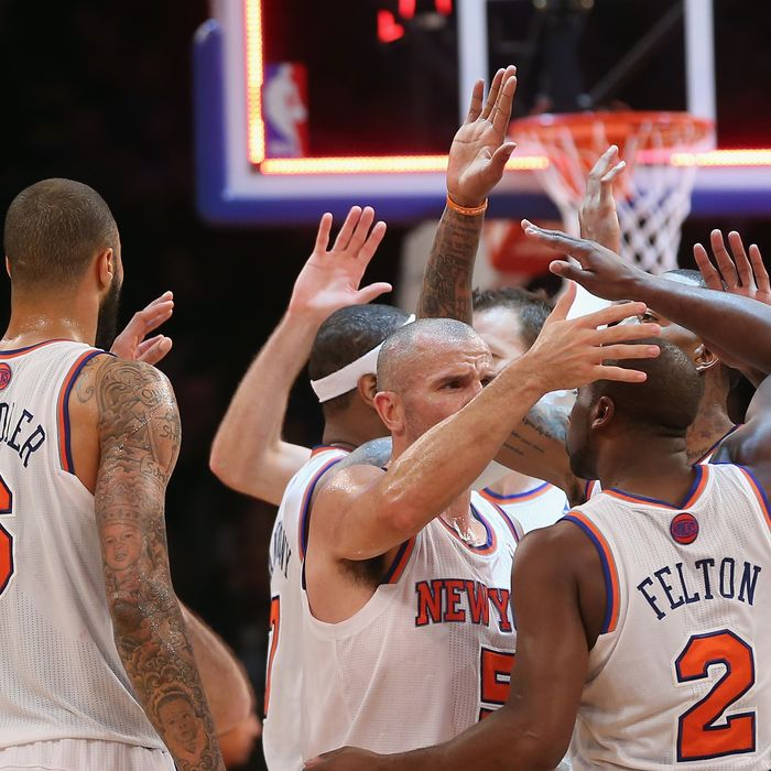 The New York Knicks celebrate their 112-106 victory over the Denver Nuggets at Madison Square Garden on December 9, 2012 in New York City.