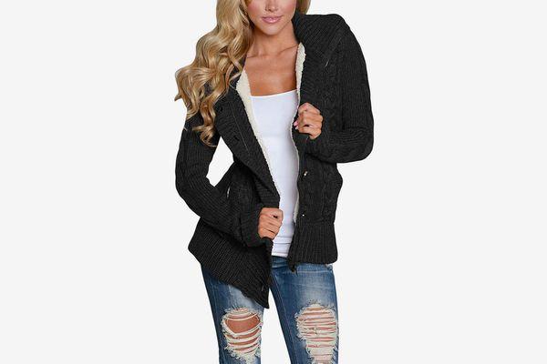 Sidefeel Women Hooded Knit Cardigans