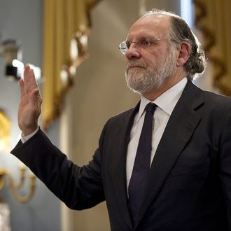 Jon Corzine, former CEO of MF Global, takes the oath prior to testifying before the House Agriculture Committee about the bankruptcy of MF Global on Capitol Hill in Washington, DC, December 8, 2011. Corzine said in remarks prepared for US lawmakers Thursday he does not know what happened to some $1.2 billion that disappeared from now bankrupt MF Global. In prepared testimony, Corzine -- once US senator, the governor of New Jersey, the head of Goldman Sachs and later MF Global -- apologizes to investors and claims he cannot account for the loss of