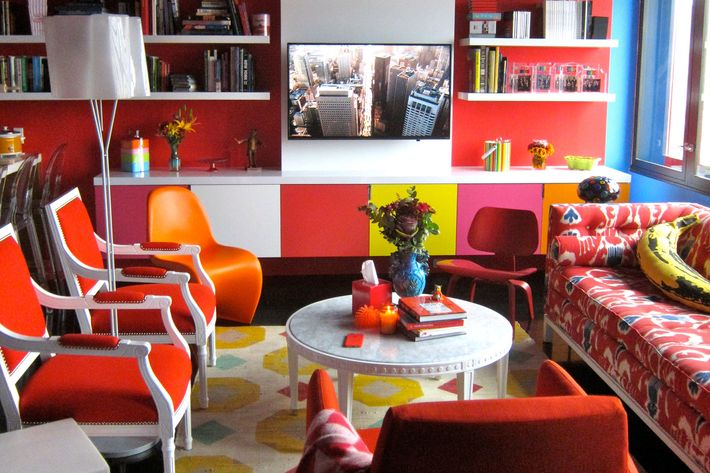 """""""The color palette of the apartment was originally based on Warhol's Turquoise Marilyn,"""" says Chase Brock."""
