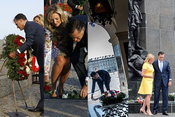 The Romneys laid flowers or wreaths at the World War II Westerplatte memorial, the Solidarity Monument, the Tomb of the Unknown soldier, and Monument to the Ghetto Heroes, single-handedly revitalizing the Polish somber-plant industry.
