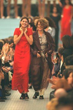 Real women walking in Dries Van Noten's spring 1996 show.