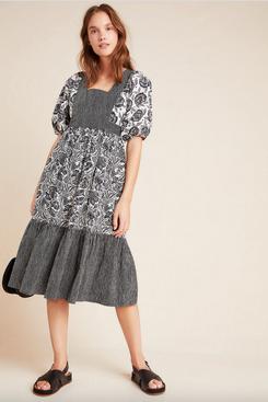 Blooming Print Adrienne Flounced Midi Dress