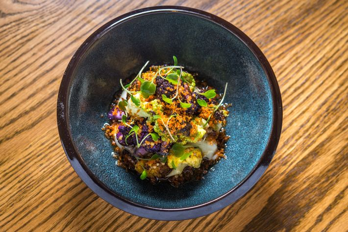 Roasted cauliflower with pickled mustard-seeds.