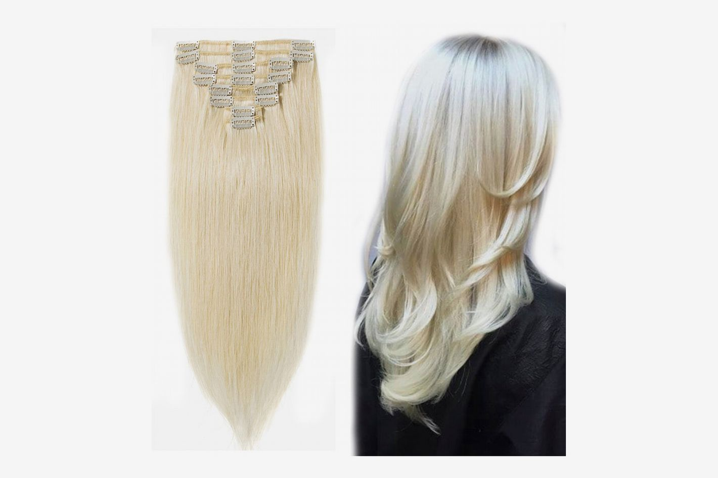 "MY-LADY Clip in 100% Remy Human Hair Extensions, Platinum Blonde 18"", 100g, 8pcs"