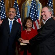 Rep. Steve Stockman, R-Texas, second from right, participates in a mock swearing-in ceremony with Speaker of the House Rep. John Boehner, R-Ohio, for the 113th Congress on Thursday, Jan. 3, 2013 in Washington.