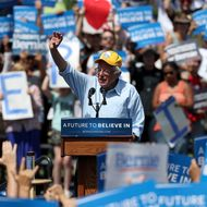 Bernie Sanders Holds Campaign Rally In Palo Alto, CA