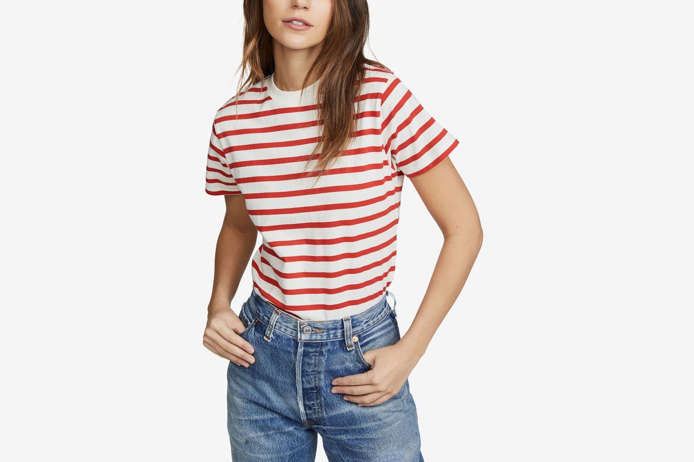 Hanes x Karla Striped Crew Tee Off White/Red