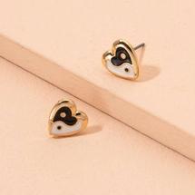 Shein Yin & Yang Pattern Heart Shaped Earrings