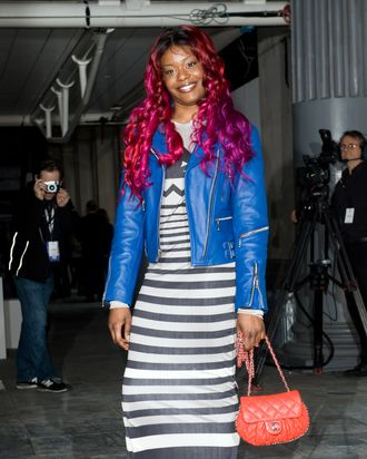 LONDON - FEBRUARY 19: Azealia Banks attends the Topshop Unique show during London Fashion Week Autumn/Winter 2012 at the the Topshop Show Space on February 19, 2012 in London, England. (Photo by Samir Hussein/Getty Images)