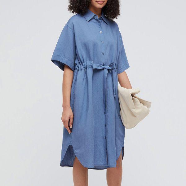 Women Linen-Blend Short-Sleeved Shirtdress (JW Anderson)