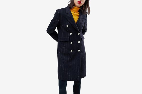 Mango Pin Stripe Button Front Tailored Coat