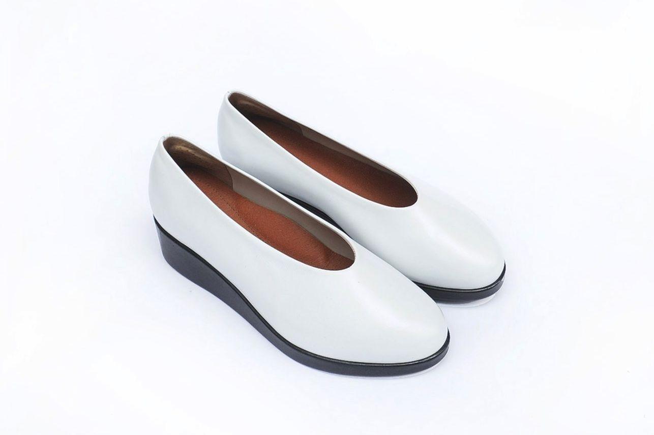 Hopp Wedge Slip-on - White Nappa