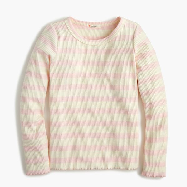Girls' Long-Sleeved Ribbed T-shirt in Ivory/Pink Stripe