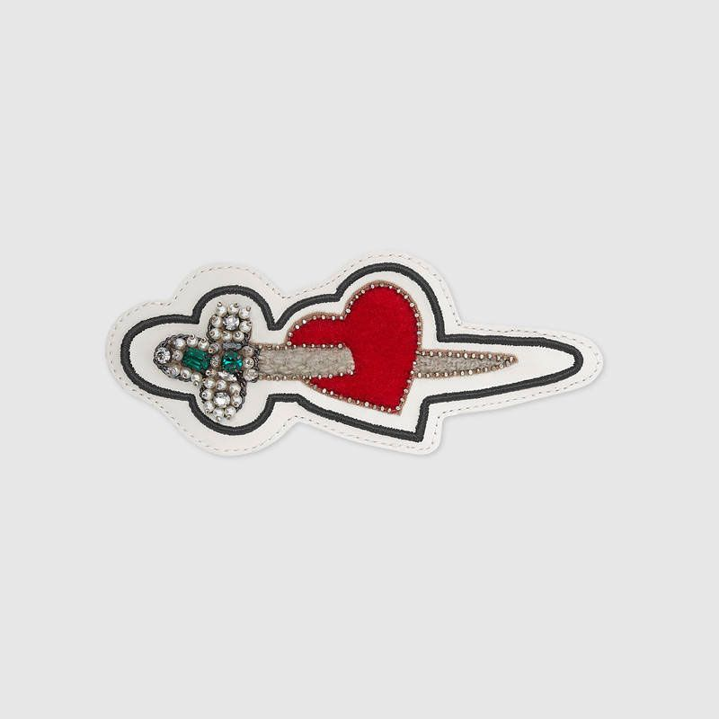 Embroidered Pierced Heart Leather Applique
