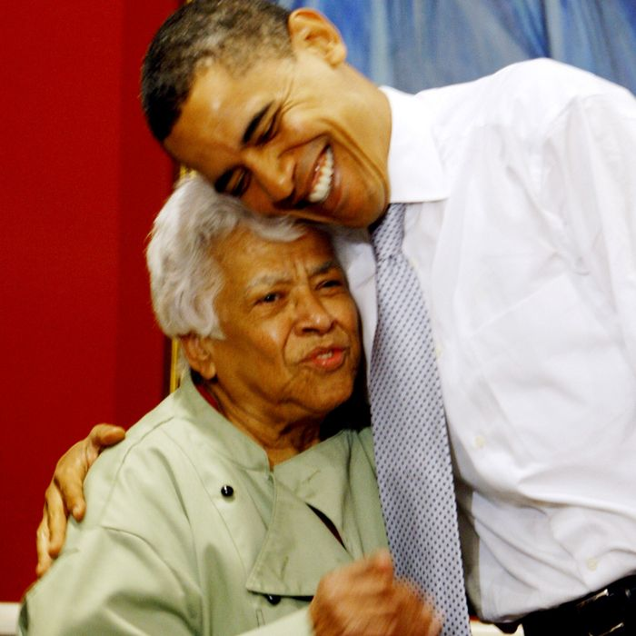 Leah Chase with President Barack Obama, whom she chided for adding hot sauce to his gumbo.