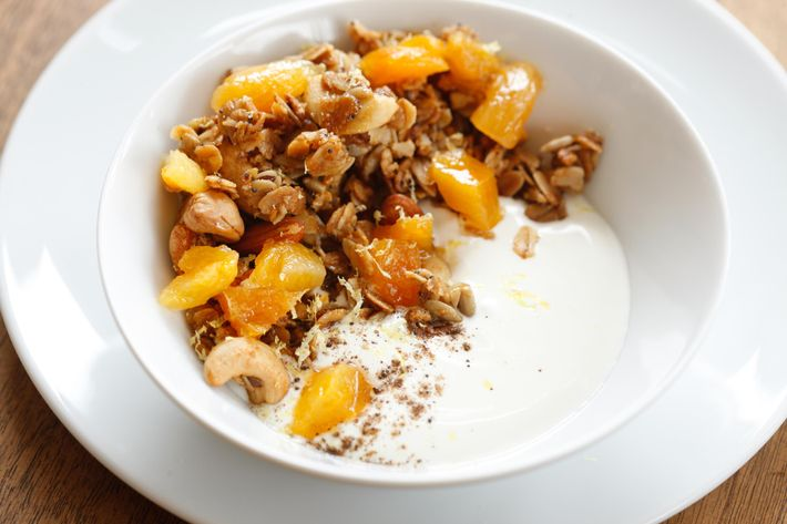 Fruit & Cream: skyr yogurt, cereal, caraway, allspice, apricots.