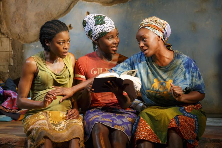"This photo provided by Joan Marcus shows from left, Pascale Armand, Lupita Nyong'o, and Saycon Sengbloh in a scene from Danai Gurira's ""Eclipsed"", directed by Liesl Tommy. (Joan Marcus via AP)"