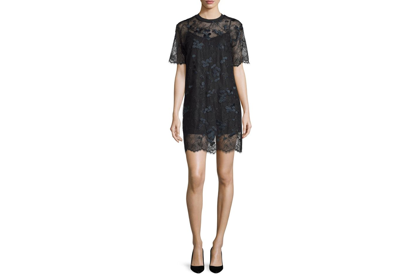 Carven Short-Sleeve Embroidered Lace Shift Dress
