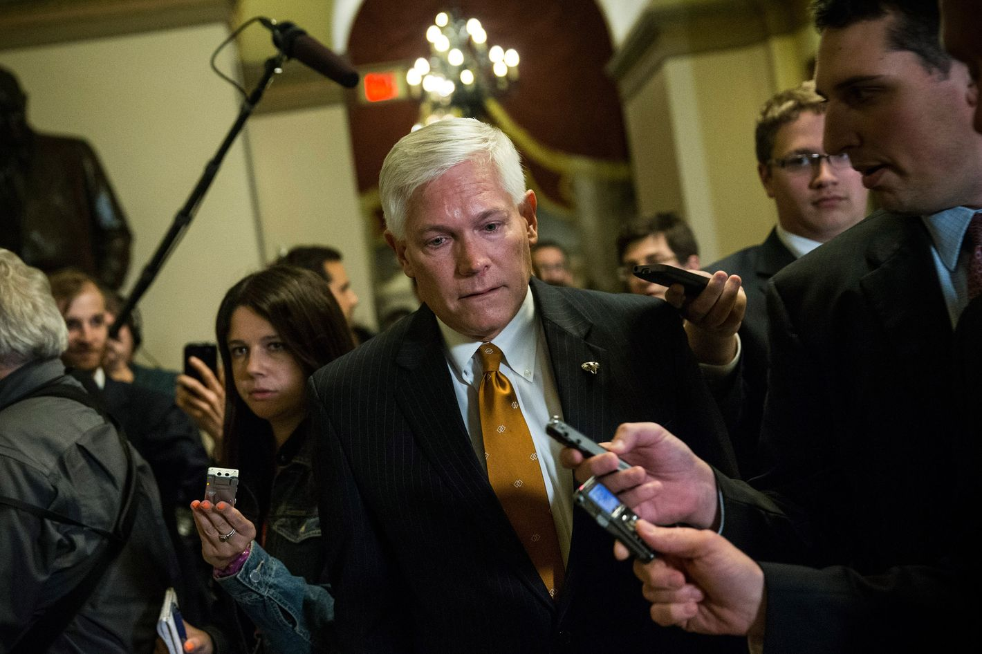 U.S. Rep. Pete Sessions (R-TX) leaves Speaker Boehner's office after a meeting amongst Republican House leadership at the Capitol Building on October 15, 2013 in Washington, DC. The government has been shut down for 14 days.