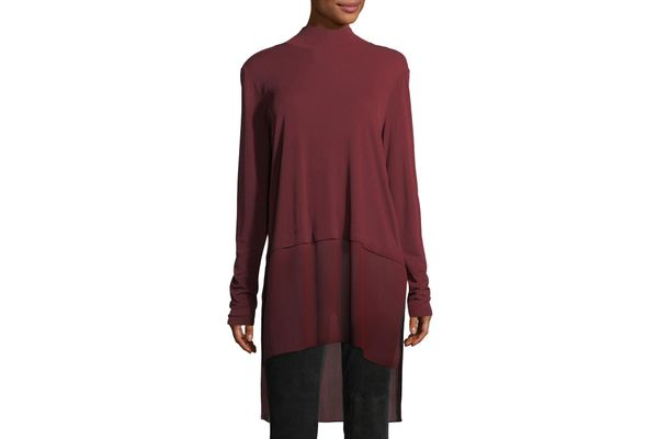 Eileen Fisher Mock-Neck Stretch Silk Jersey Layered Tunic