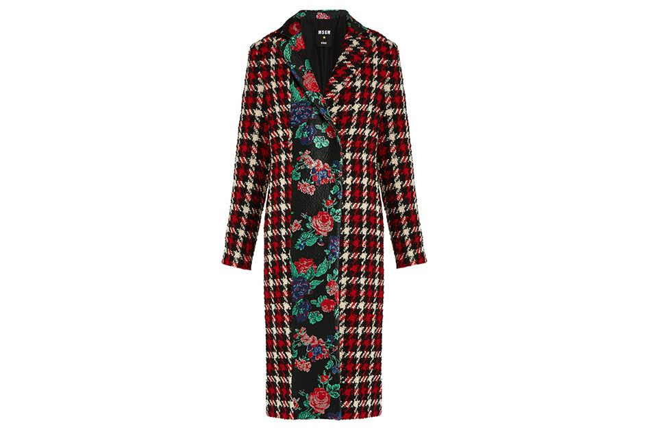 MSGM houndstooth wool-blend coat