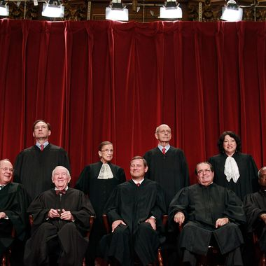 WASHINGTON - SEPTEMBER 29:  Members of the US Supreme Court pose for a group photograph at the Supreme Court building on September 29, 2009 in Washington, DC.  Front row (L-R): Associate Justice Anthony M. Kennedy, Associate Justice John Paul Stevens, Chief Justice John G. Roberts, Associate Justice Antonin Scalia, and Associate Justice Clarence Thomas. Back Row (L-R),  Associate Justice Samuel Alito Jr., Associate Justice Ruth Bader Ginsburg, Associate Justice Stephen Breyer, and Associate Justice Sonia Sotomayor. (Photo by Mark Wilson/Getty Images) *** Local Caption *** Sonia Sotomayor;Stephen Breyer;Ruth Bader Ginsburg;Samuel Alito Jr.;Clarence Thomas;John G. Roberts;John Paul Stevens;Anthony M. Kennedy