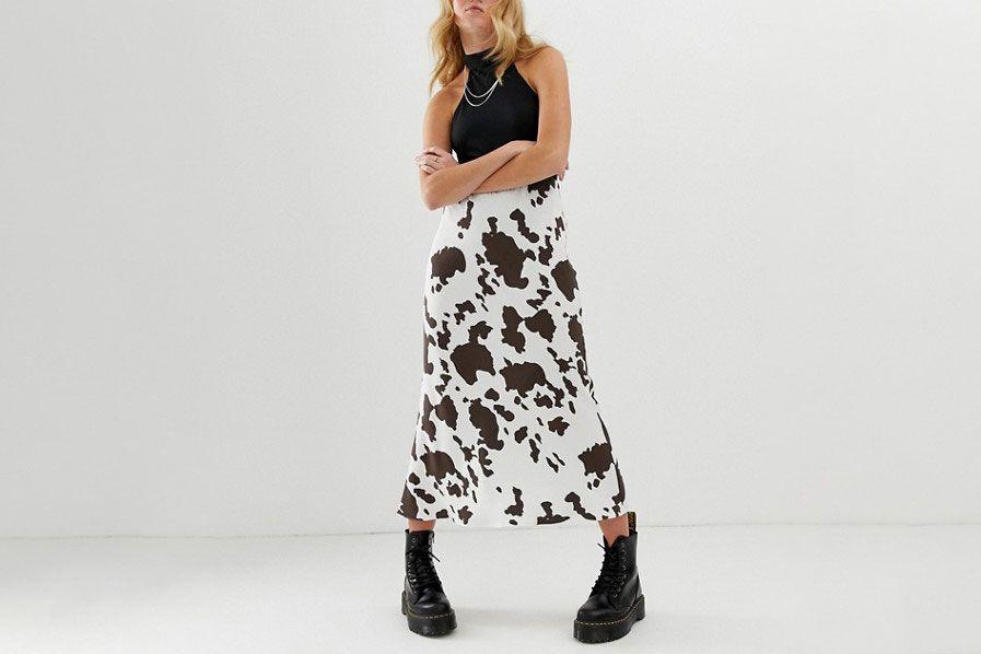 ASOS DESIGN Bias Cut Midi Skirt in Cow Print
