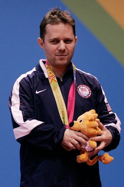 GUADALAJARA, MEXICO - NOVEMBER 15: Tahl Leibovitz of USA celebrates with gold medal during the medal ceremony after the men's singles C9 finals of table tennis during the Para Pan American Games Guadalajara 2011 at CODE Dome on Novembre 15, 2011 in Guadalajara, Mexico. (Photo by Alfredo Lopez/LatinContent/Getty Images)