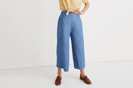 Madewell Chambray Huston Pull-On Crop Pants