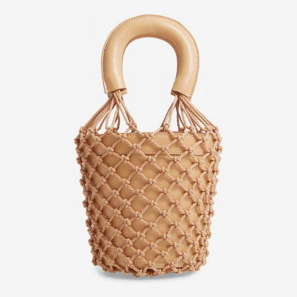 staud moreau cage bucket bag tan