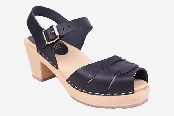 Lotta From Stockholm Swedish Clogs: Peep Toe Clogs in Black Leather