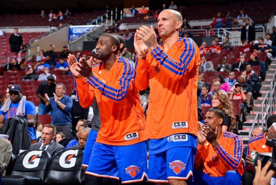 Raymond Felton #2 and Jason Kidd #5 of the New York Knicks cheer on their teammates from the bench against the Philadelphia 76ers at the Wells Fargo Center on November 5, 2012 in Philadelphia, Pennsylvania.