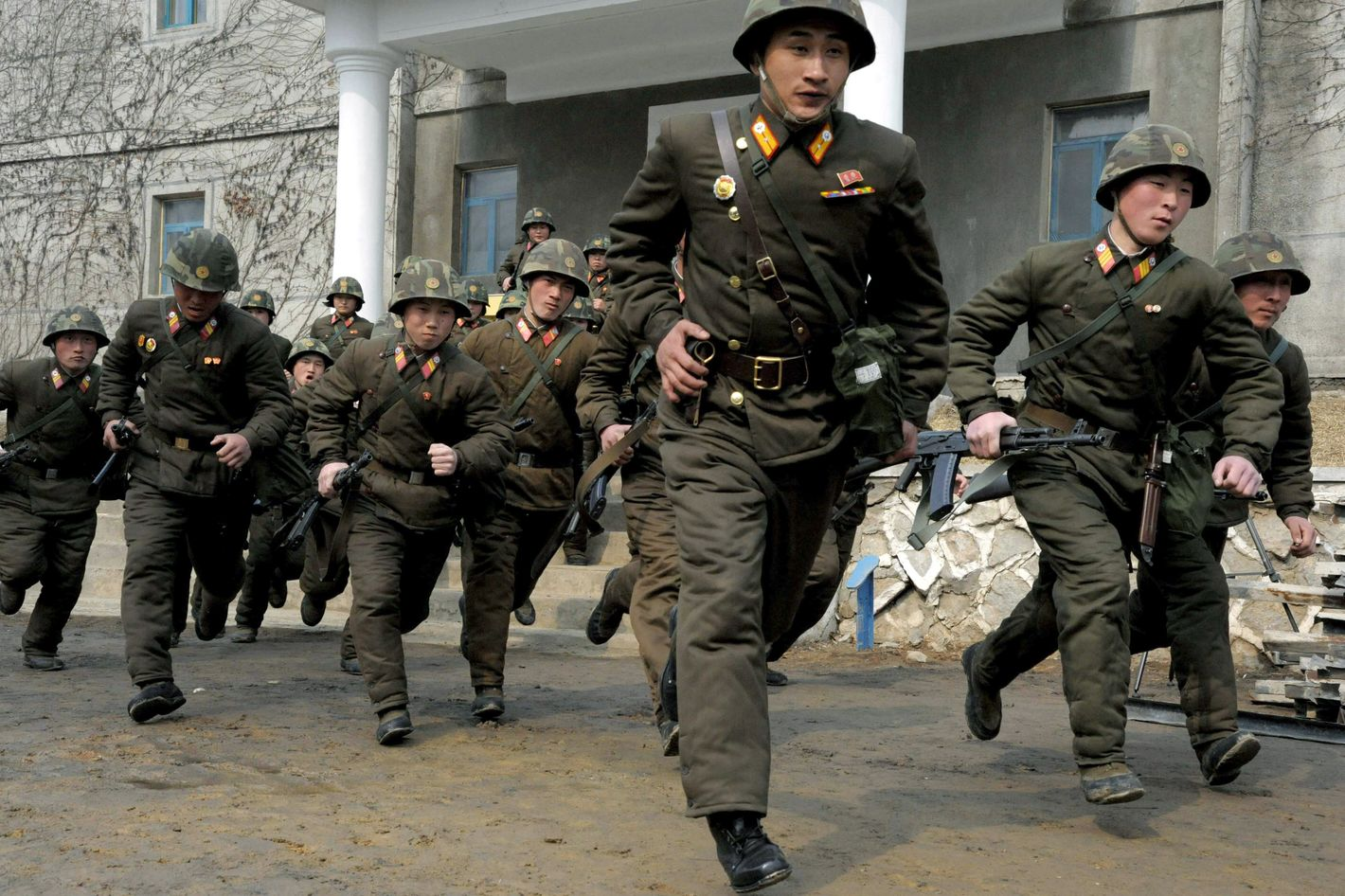 Soldiers of Kim Il Sung Military University perform military training on Wednesday, March 6, 2013, in Pyongyang, North Korea. North Korea's military is vowing to cancel the 1953 cease-fire that ended the Korean War, straining already frayed ties between Washington and Pyongyang as the United Nations moves to impose punishing sanctions over the North's recent nuclear test.
