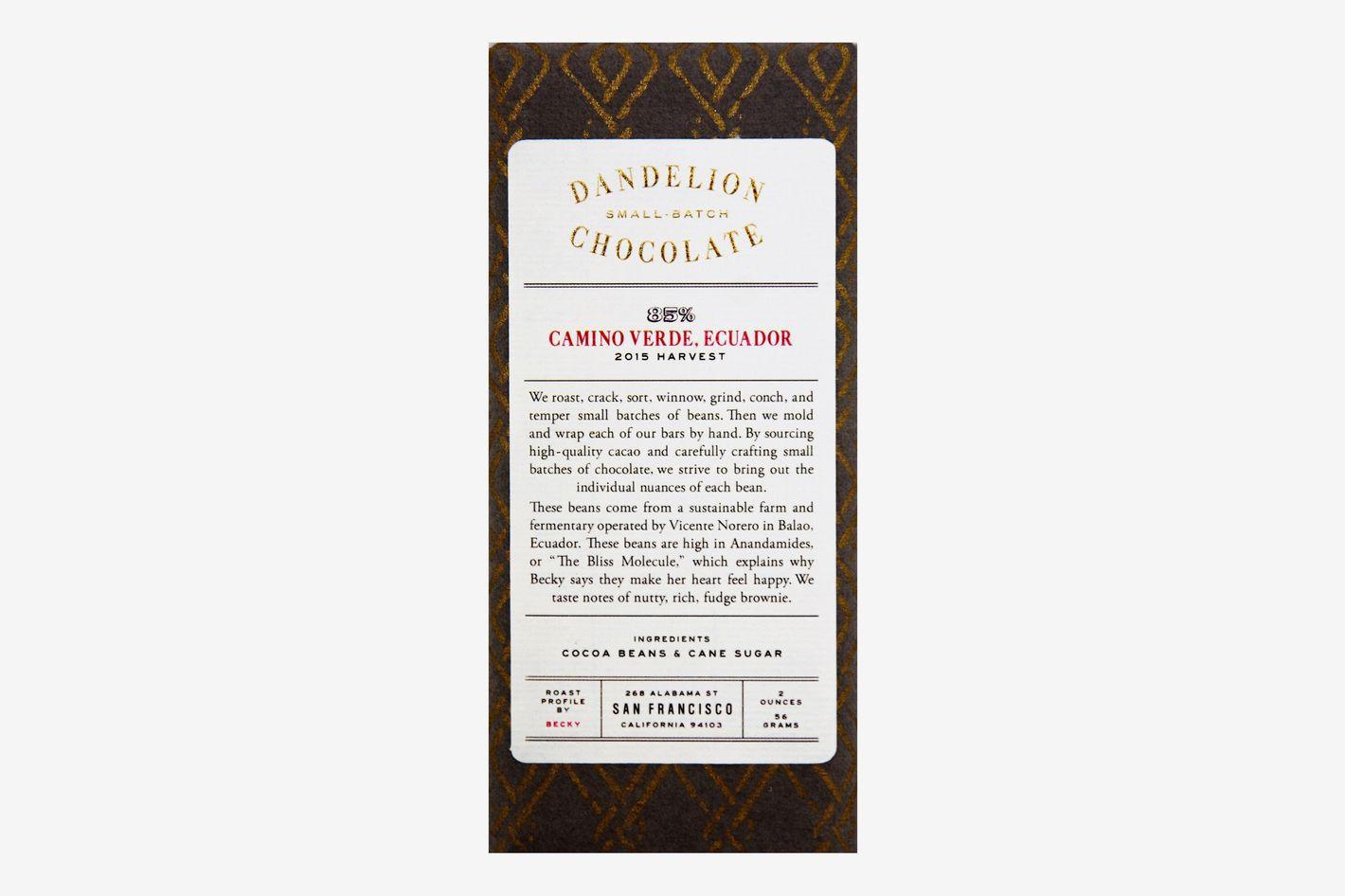 Dandelion Camino Verde Ecuador 85% Dark Chocolate