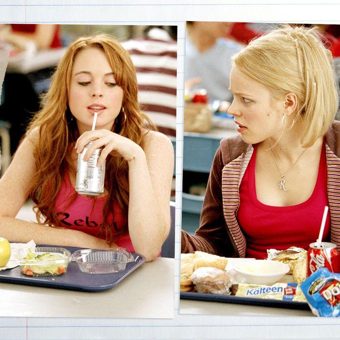 Lindsay Lohan and Rachel McAdams in <em>Mean Girls</em>.
