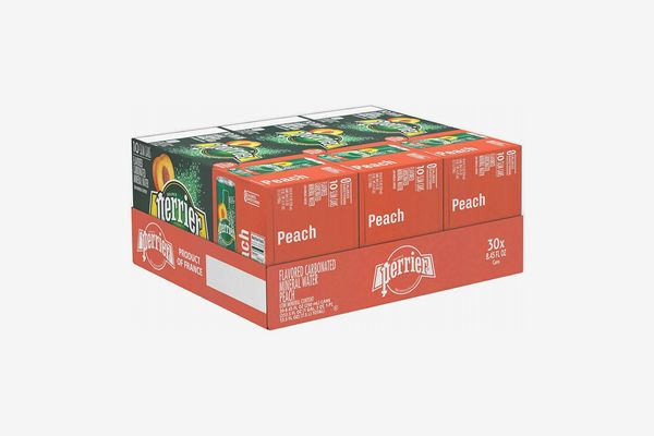 Perrier Peach Flavored Carbonated Mineral Water, (30 Count)