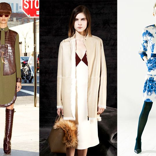 From left: new pre-fall looks from Givenchy, The Row, and Preen.