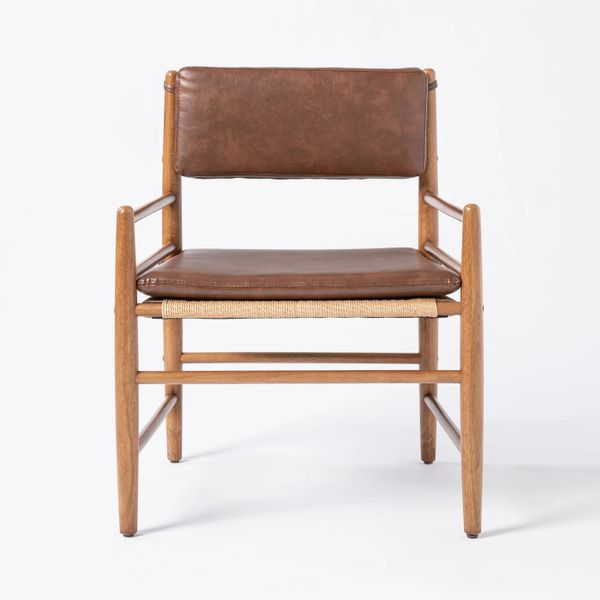 Threshold designed with Studio McGeeLayton Faux Leather Accent Chair with Wood Frame