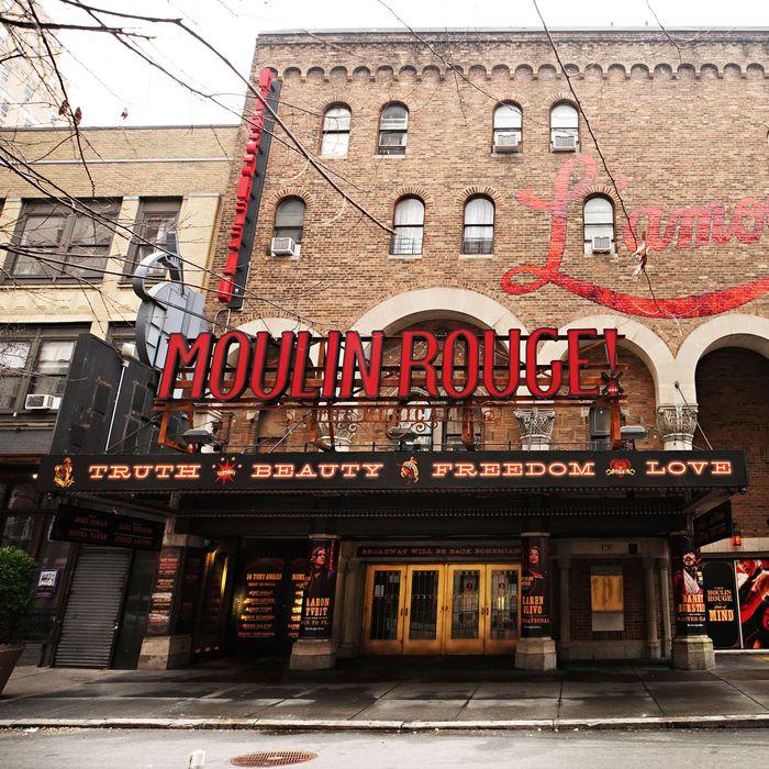 The shuttered Al Hirschfeld Theatre near Times Square in January.