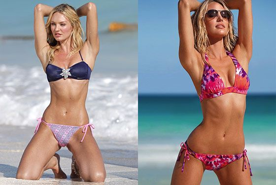 (For all slides, the new paparazzi shots are on the left, and the shots Victoria's Secret has published are on the right.)