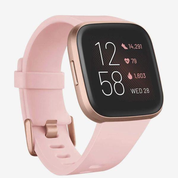 Fitbit Versa 2 Smartwatch with Voice Control, Petal/Copper Rose