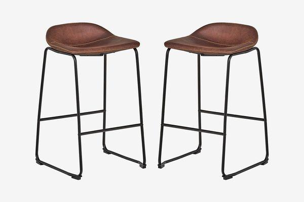 Rivet Mid-Century 2-Pack No-Back Bar Stools