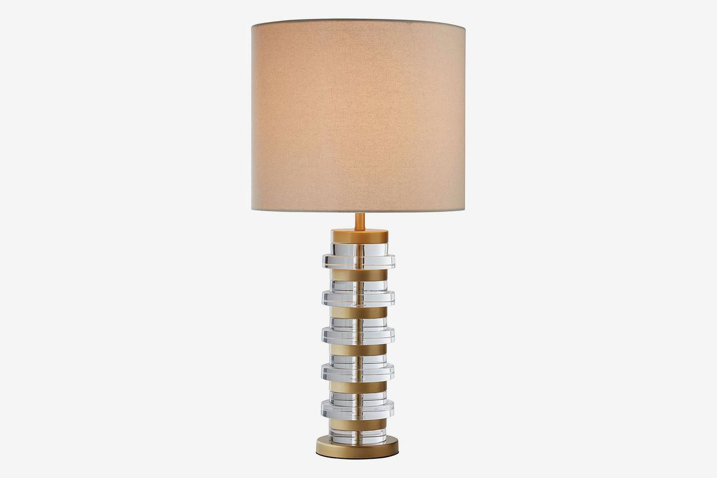 Rivet Modern Brass-Trimmed Table Lamp with Bulb