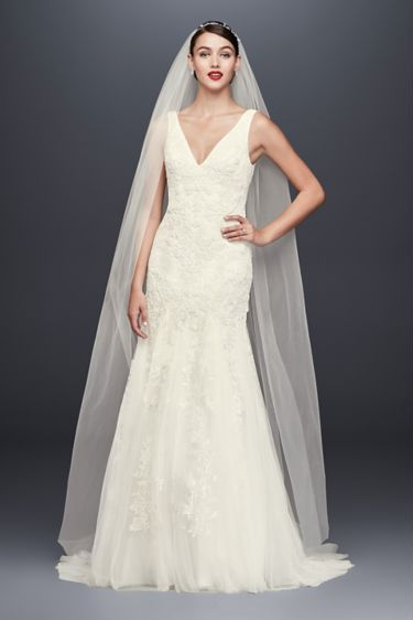OLEG CASSINI Pearl-Beaded V-Neck Mermaid Wedding Dress