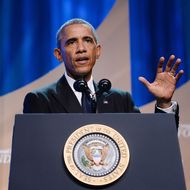 U.S. President Barack Obama speaks on stage for the Congressional Black Caucus Foundation Annual Phoenix Awards dinner, September 27, 2014 in Washington, DC.