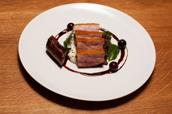 Dry-aged duck and kebab, turnips, tangy grapes
