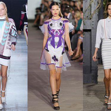 From left: spring looks from Alexander Wang, Prabal Gurung, and Band of Outsiders.