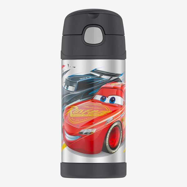 A Disney's Cars themed thermos with a matte grey lid and a bright red car on a stainless steel background. The Strategist - There's a Bunch of Thermoses on Sale at Amazon